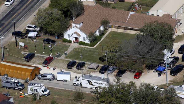 An aerial photo showing the site of a mass shooting at the First Baptist Church of Sutherland Springs, Texas, U.S., November 6, 2017 - Sputnik International