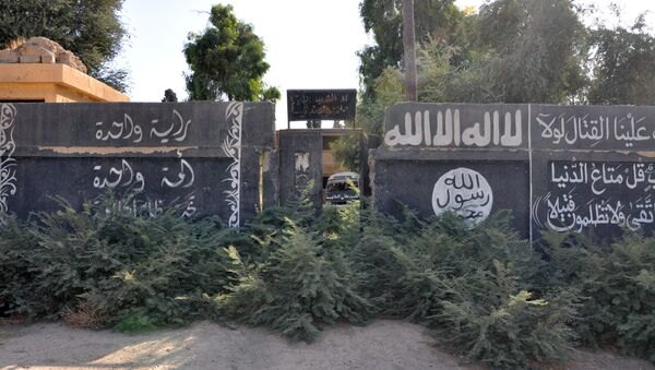 A picture taken on October 20, 2017, shows Islamic State group writting on a wall in the recently seized strategic Syrian town of Mayadeen - Sputnik International