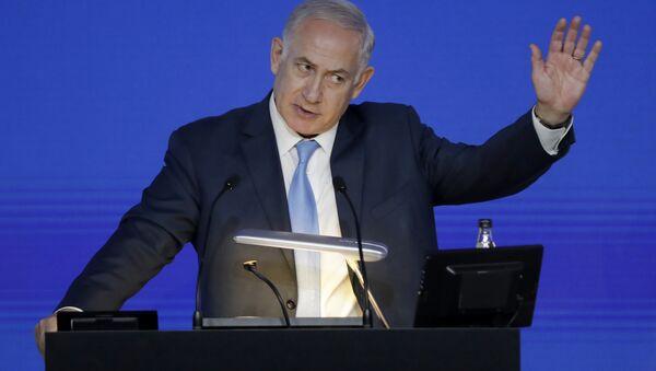 Israeli Prime Minister Benjamin Netanyahu gives an address at the London Stock Exchange in the City of London, Friday, Nov. 3, 2017. - Sputnik International