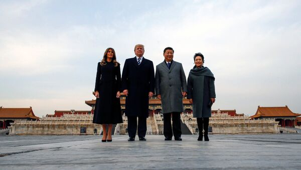 U.S. President Donald Trump and U.S. first lady Melania visit the Forbidden City with China's President Xi Jinping and China's First Lady Peng Liyuan in Beijing, China, November 8, 2017 - Sputnik International