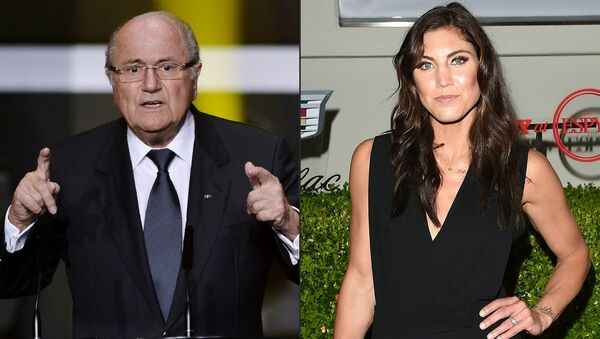 This combination of pictures created on November 11, 2017 shows FIFA then President Joseph Blatter (L) speaking at the start of the FIFA Ballon d'Or awards ceremony at the Kongresshaus in Zurich on January 7, 2013 and USA women's national football team goalkeeper Hope Solo attending BODY at ESPYs at Milk Studios on July 14, 2015 in Hollywood, California - Sputnik International