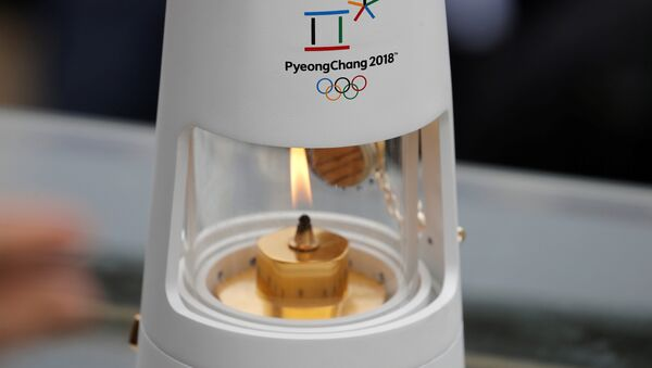 Athletics Olympic - Flame Handover Ceremony For Pyeongchang 2018 Olympics - Panathenaic Stadium, Athens, Greece - October 31, 2017 General view of the flame during the handover ceremony - Sputnik International