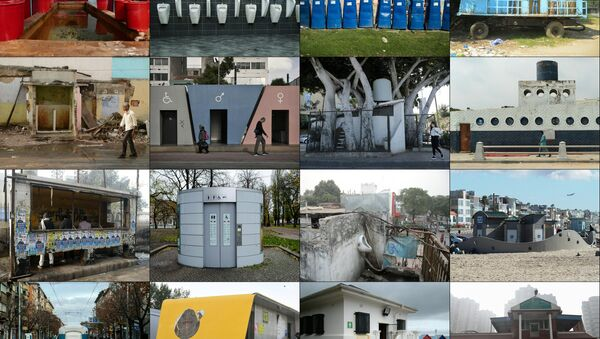 This combination of pictures made on November 17, 2017 presents an AFP worlwide photo theme on public toilets ahead of the United Nations World Toilet Day on November 19, 2017 as some 4.5 billion people live without a household toilet that safely disposes of their waste according to the UN - Sputnik International
