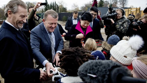 The Danish prime minister, Lars Loekke Rasmussen, centre left, and the Chinese Ambassador to Denmark, Deng Ying, centre right, hand out toys and tokens of good luck to children at a ceremony laying the foundation for a new giant panda facility in Copenhagen Zoo, Thursday, Nov. 16, 2017 - Sputnik International