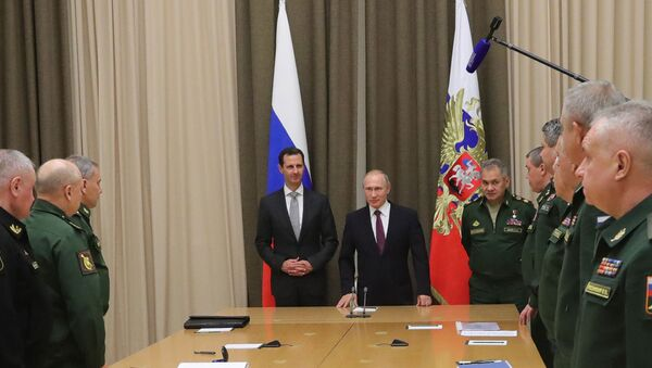 Vladimir Putin meets with Syrian President Bashar Al-Assad, November 2017 - Sputnik International