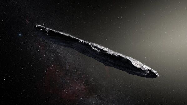 This artist's impression shows the first interstellar asteroid: 'Oumuamua. This unique object was discovered on 19 October 2017 by the Pan-STARRS 1 telescope in Hawai`i. - Sputnik International