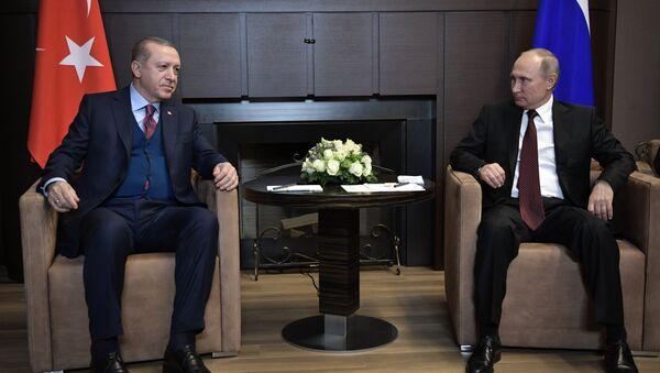 November 13, 2017. Russian President Vladimir Putin and Turkish President Recep Tayyip Erdogan (left) during the meeting - Sputnik International