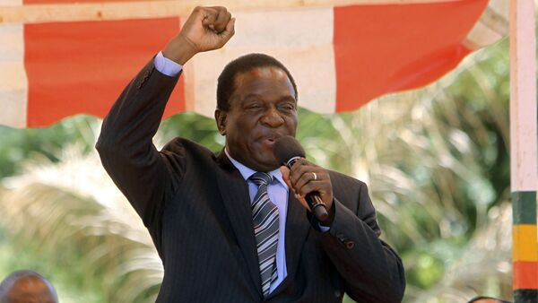 Zimbabwean vice President Emmerson Mnangagwa greets party supporters at the ZANU-PF headquarters in Harare - Sputnik International