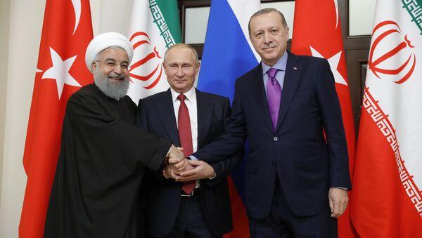 Meeting of Russian President Vladimir Putin, President of Iran Hassan Rouhani and President of Turkey Recep Tayyip Erdogan - Sputnik International