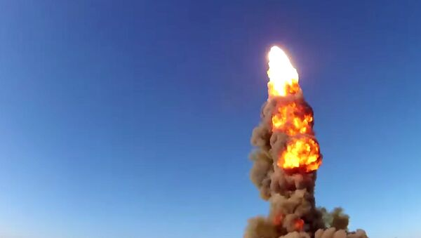 Inter-missile launch from Sary Shagan testing ground. Still frame taken from a video courtesy of the Russian Defense Ministry - Sputnik International