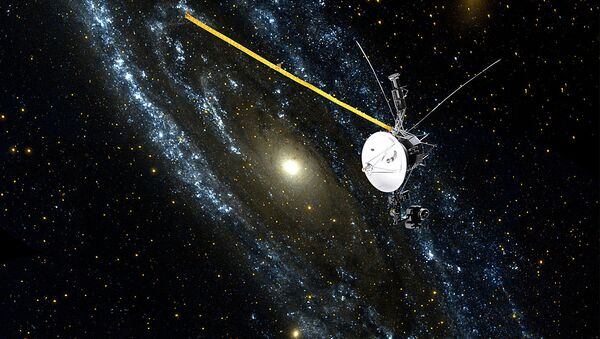 an artist rendition of NASA's Voyager 1 spacecraft as it speeds beyond the boundary of the Solar System and enters interstellar space - Sputnik International