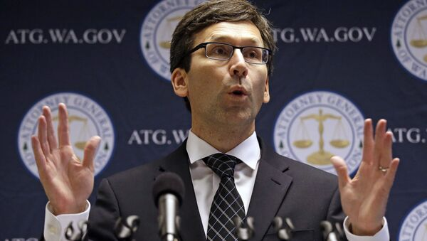 Washington state Attorney General Bob Ferguson speaks at a news conference announcing a multi-million dollar lawsuit against the ride-hailing company Uber Tuesday, Nov. 28, 2017, in Seattle. - Sputnik International