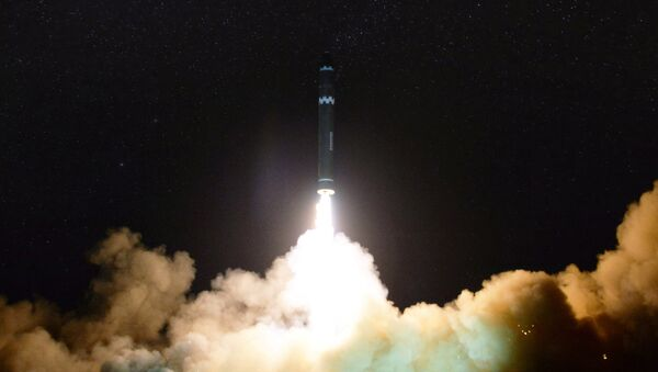 A view of the newly developed intercontinental ballistic rocket Hwasong-15's test that was successfully launched is seen in this undated photo released by North Korea's Korean Central News Agency (KCNA) in Pyongyang November 30, 2017 - Sputnik International