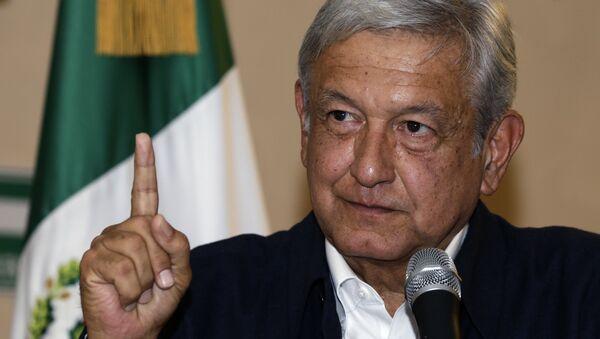 Presidential hopeful Andres Manuel Lopez Obrador gives a press conference in Mexico City - Sputnik International