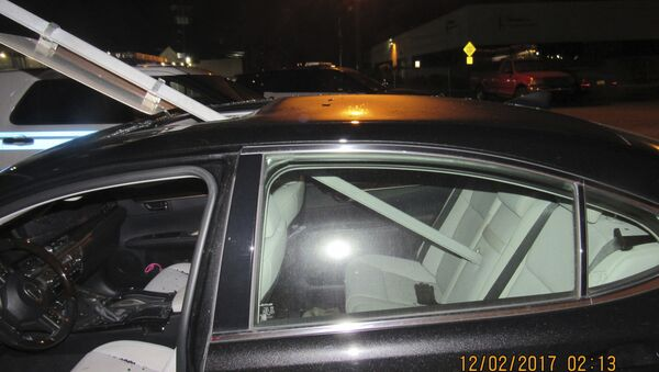A photo provided by the South Hackensack Police Department shows a car with a mass transit sign sticking out of the roof. - Sputnik International