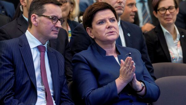 Finance Minister Mateusz Morawiecki and Prime Minister Beata Szydlo during Congress 590 in Jesionka near Rzeszow, Poland November 16, 2017 - Sputnik International