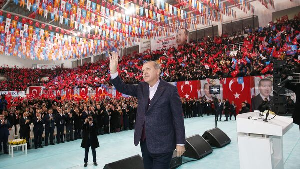 Turkish President Tayyip Erdogan greets his supporters during a meeting of his ruling AK Party in Sivas, Turkey December 10, 2017 - Sputnik International