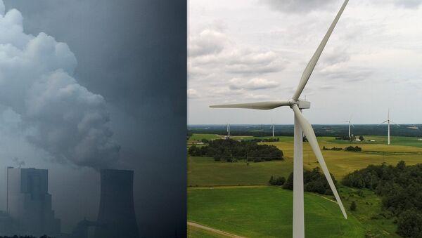 composite image: coal fired power plant/wind farm - Sputnik International