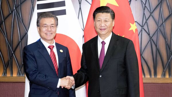 In this Nov. 11, 2017, photo released by China's Xinhua News Agency, South Korean President Moon Jae-in, left, and Chinese President Xi Jinping shake hands as they pose for a photo during a meeting on the sidelines of the Asia-Pacific Economic Cooperation (APEC) Forum in Danang, Vietnam. - Sputnik International