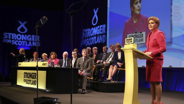 Scotland's First Minister and Scottish National Party leader Nicola Sturgeon makes a speech during the SNP Spring Conference, in Aberdeen, Scotland - Sputnik International