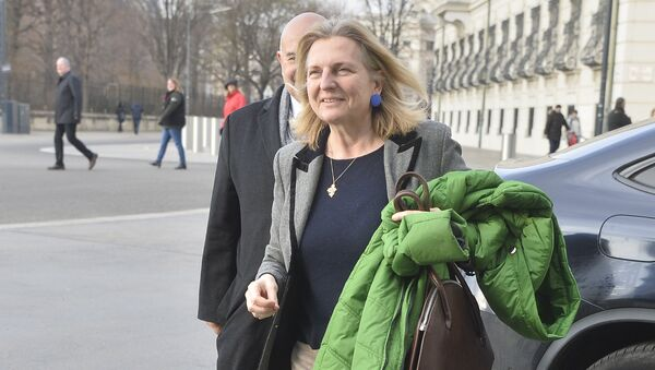 Designated Foreign Minister Karin Kneissl arrives for talks with Austria's President on December 17, 2017 at the Hofburg palace in Vienna - Sputnik International