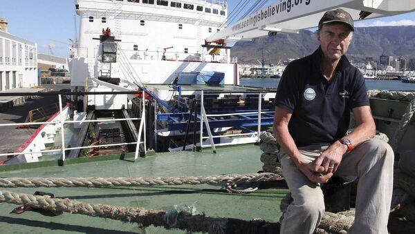 In this photo taken Thursday, Jan. 3, 2013, British explorer Ranulph Fiennes on board the polar vessel S.A. Agulhas in Cape Town, South Africa - Sputnik International