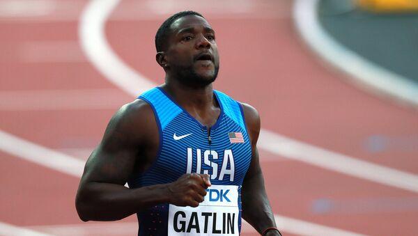 Justin Gatlin (USA) after the men's 100m sprint semifinal at the 2017 IAAF World Championships in London. File photo - Sputnik International