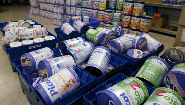 This Monday, Dec.11, 2017 file picture shows removed baby milk boxes pictured in a drugstore, in Anglet, southwestern France - Sputnik International