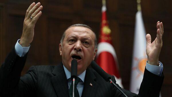 Turkey's President Tayyip Erdogan addresses members of parliament from his ruling AK Party (AKP) during a meeting at the Turkish parliament in Ankara, Turkey, December 5, 2017 - Sputnik International