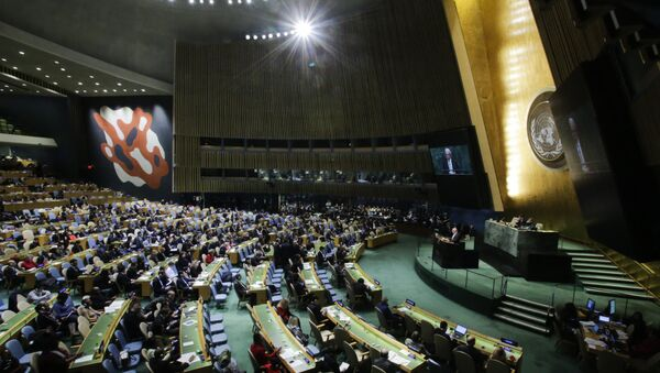 Palestinian Foreign Minister Riyad al-Malki addresses to members of delegations at the General Assembly for the vote on Jerusalem, on December 21, 2017, at UN Headquarters in New York - Sputnik International