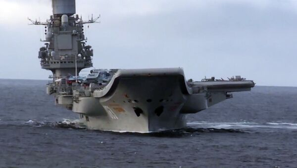 Admiral Kuznetsov heavy aircraft-carrying missile cruiser in the Mediterranean Sea near Syria - Sputnik International