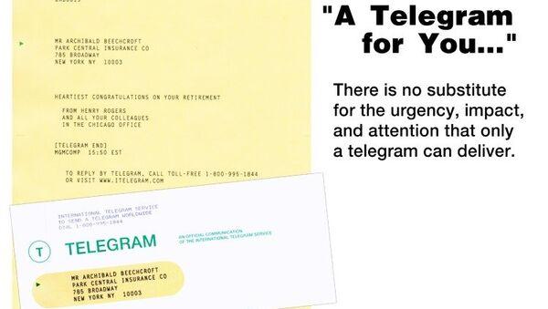 An example of a modern-day telegram - Sputnik International