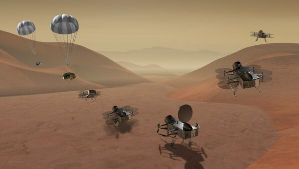 Dragonfly is a dual-quadcopter lander that would take advantage of the environment on Titan to fly to multiple locations, some hundreds of miles apart, to sample materials and determine surface composition to investigate Titan's organic chemistry and habitability, monitor atmospheric and surface conditions, image landforms to investigate geological processes, and perform seismic studies - Sputnik International