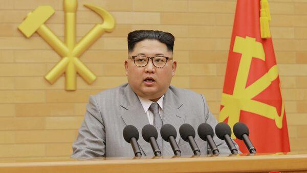 North Korea's leader Kim Jong Un speaks during a New Year's Day speech in Pyongyang on January 1, 2018 - Sputnik International