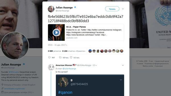 Screenshot of Assange's tweet - Sputnik International