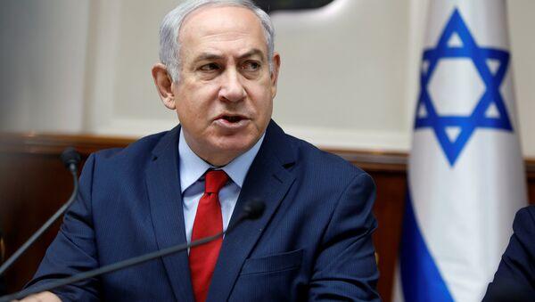 Israeli Prime Minister Benjamin Netanyahu attends the weekly cabinet meeting at the Prime Minister's office in Jerusalem December 31, 2017 - Sputnik International