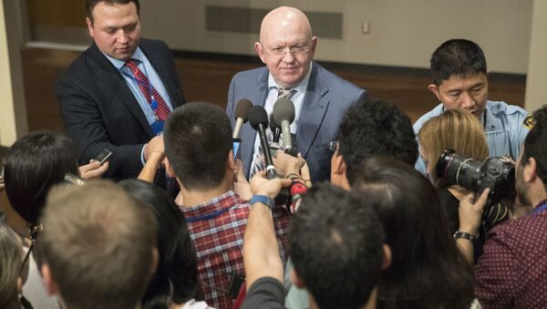 Russian Ambassador to the United Nations Vassily Nebenzia speaks to reporters after Security Council consultations on the situation in North Korea, Friday, Sept. 15, 2017 at United Nations headquarters. - Sputnik International