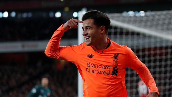 Soccer Football - Premier League - Arsenal vs Liverpool - Emirates Stadium, London, Britain - December 22, 2017 Liverpool's Philippe Coutinho celebrates scoring their first goal - Sputnik International