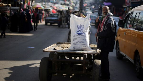 A Palestinian man stands next to a cart carrying a flour sack distributed by the United Nations Relief and Works Agency (UNRWA) in Khan Younis refugee camp in the southern Gaza Strip January 3, 2018 - Sputnik International