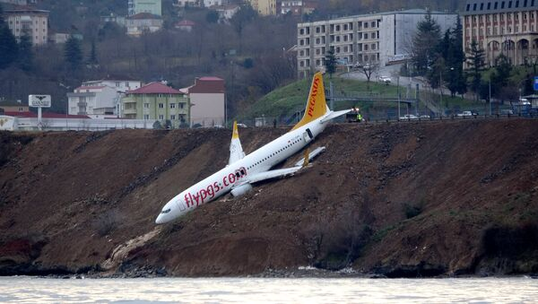 A Pegasus Airlines aircraft is pictured after it skidded off the runway at Trabzon airport by the Black Sea in Trabzon, Turkey, January 14, 2018 - Sputnik International