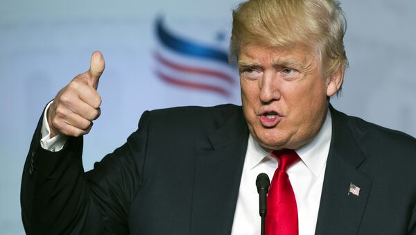 Republican presidential candidate Donald Trump gives a thumbs-up while addressing the Faith and Freedom Coalition's Road to Majority Conference in Washington. (File) - Sputnik International