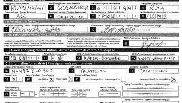 Henri Schoeman's Doping Control Form, Noting His Use of Prednisolone © Sputnik - Sputnik International