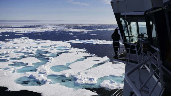 The Finnish icebreaker MSV Nordica sails through ice floating on the Chukchi Sea off the coast of Alaska, Sunday, July 16, 2017, while traversing the Arctic's Northwest Passage, the treacherous, ice-bound route where Norwegian explorer Roald Amundsen made the first successful transit in 1906 - Sputnik International