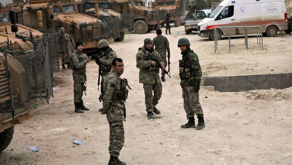 Turkish forces are seen near Mount Barsaya, northeast of Afrin, Syria January 22,2018 - Sputnik International