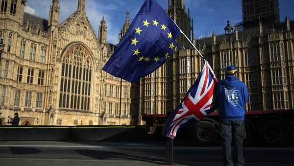 A pro-European Union,(EU), anti-Brexit demonstrator holds the EU and UK flags outside the Houses of Parliament, in central London on January 22, 2018 - Sputnik International