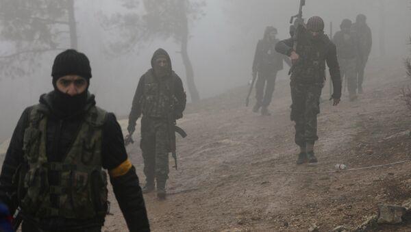 Turkish-backed Free Syrian Army fighters are seen near Mount Barsaya, northeast of Afrin, Syria - Sputnik International