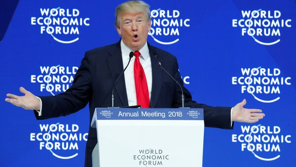 U.S. President Donald Trump gestures as he delivers a speech during the World Economic Forum (WEF) annual meeting in Davos, Switzerland January 26, 2018 - Sputnik International