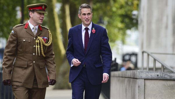 Gavin Williamson, right, outside the Ministry of Defence in London after he was named as the new Secretary of State for Defence following the resignation of Sir Michael Fallon who admitted his behaviour had fallen below the high standards required in the role, Thursday, Nov. 2, 2017. - Sputnik International
