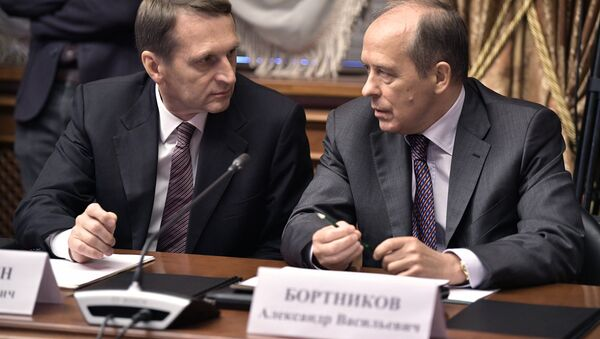 September 19, 2017. Russian Foreign Intelligence Service Director Sergei Naryshkin, left, and Federal Security Service Director Alexander Bortnikov before a meeting of the Military-Industrial Commission at the Almaz-Antey air defense system company - Sputnik International