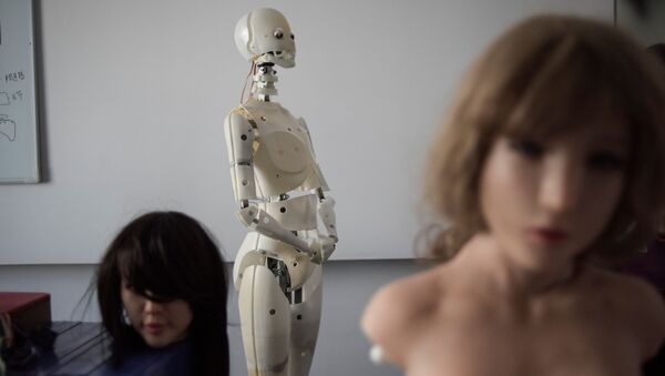 This photo taken on February 1, 2018 shows robots in a lab of a doll factory of EXDOLL, a firm based in the northeastern Chinese port city of Dalian - Sputnik International